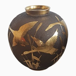 Etched Glass Vase with Gilded Decoration and Rim by Alfred Taube for Füge & Taube, 1960s