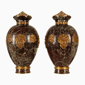 French Art Deco Marble & Bronze Urn Vases, 1920s, Set of 2