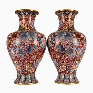 Large Chinese Ming Style Enamel & Gilt Bronze Cloisonné Vases, 1930s, Set of 2