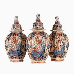 Niederländische kaschmirfarbene lasierte Delfter Vintage Vasen von Edme Samson für The Lampet Kan, 3er Set