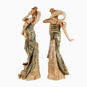 Art Nouveau Sculpture, Porcelain Figurines Riessner, Stellmacher & Kessel, Emblematic of the Wind