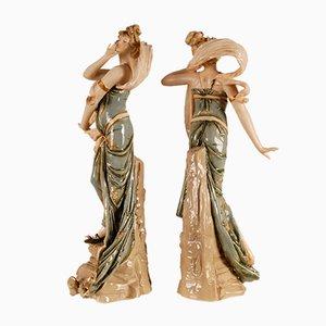 Jugendstil Skulptur, Porzellanfiguren Riessner, Stellmacher & Kessel, Sinnbild für den Wind