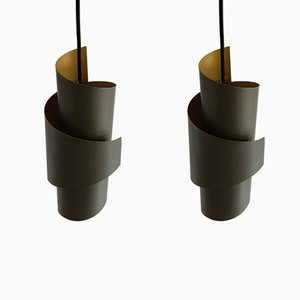 Danish Swirl-Shaped Metal Pendant Lamps by Simon Henningsen for Lyfa, 1960s, Set of 2