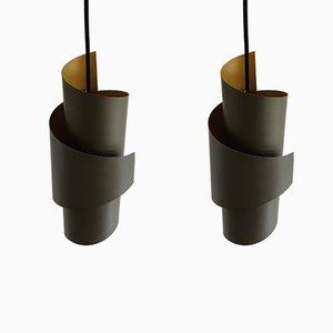 Lampes à Suspension Tourbillon en Métal par Simon Henningsen pour Lyfa, Danemark, 1960s, Set de 2