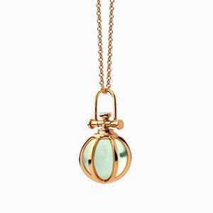 Collar colgante Sacred Four moderno de oro rosa de 18 quilates macizo de cristal natural con amatista verde de Rebecca Li