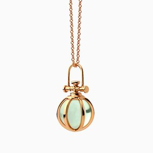 Modern Sacred 18k Solid Rose Gold Mini Crystal Orb Pendant Necklace with Natural Green Amethyst by Rebecca Li