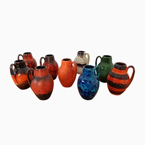 German Ceramic 414-16 Vases from Scheurich, 1960s, Set of 9