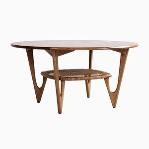 Mid-Century Danish Round Coffee Table in Teak and Oak by Kurt Østervig, 1950s