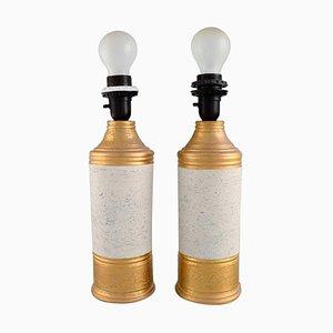 Tischlampen aus Glasiertem Steingut von Bitossi für Bergboms, 2er Set