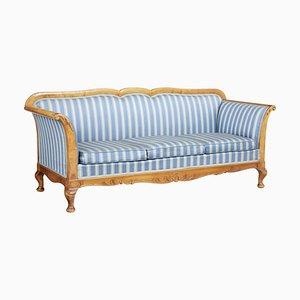 Late-19th-Century Swedish Carved Birch Sofa