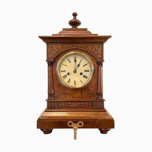 19th Century Victorian Walnut Inlaid Eight Day Mantel Clock