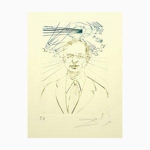 Salvador Dali, Enrico Fermi, Hand Signed Engraving, 1970