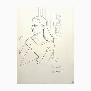 Jean Cocteau, Junges Mädchen, Lithographie, 1956
