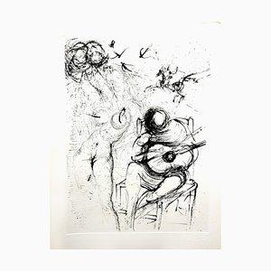 Salvador Dali, Akt mit Gitarre, Radierung, 1967