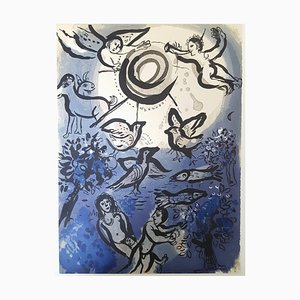 Lithographie, Marc Chagall, Creation, Adam and Eve, 1960