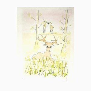 Salvador Dali, The Deer von Bestiary Fountain, signierte Radierung, 1974
