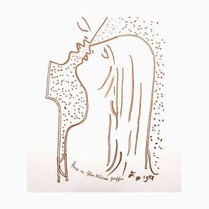 Lithographie Jean Cocteau, The Kiss, 1959