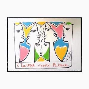 Jean Cocteau, Europa Brücke der Kulturen, Lithographie, 1961