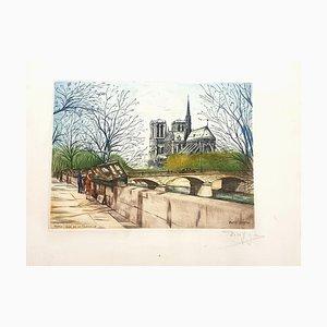 Dufza, Paris, Quai De La Tournelle, Etching Hand Signed, 1940s