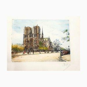 Dufza, Paris Notre Dame, Hand Signed Etching, 1940s