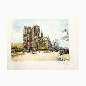 Dufza, Paris Notre Dame, handsignierte Radierung, 1940er