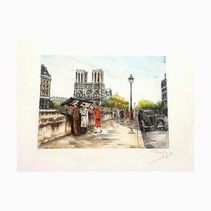 Dufza, Paris, Saint Michel, Hand Signed Etching, 1940s