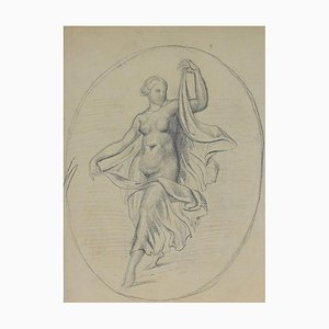 Paul Baudry, Frauenfigur, Bleistiftzeichnung, 19. Jahrhundert
