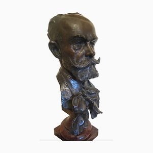 Julien Prosper Legastelois, Head of A Gentleman, Bronze Sculpture, 1894