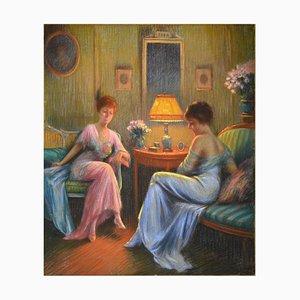 Delphin Enjorlas, Confidences, Pastel on Paper Mounted on Canvas