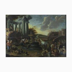 Dirk Helmbreker, Römische Landschaft mit Figuren, Öl auf Leinwand