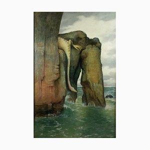 Hermann Herzog, Fantastischer Fjord, Öl auf Leinwand, 1902