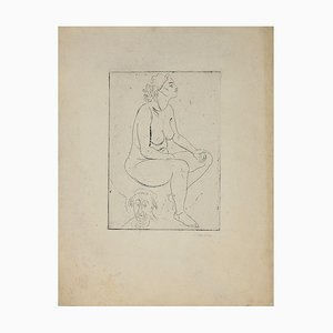Marcel Homs, Nude of Woman, Etching, 1939