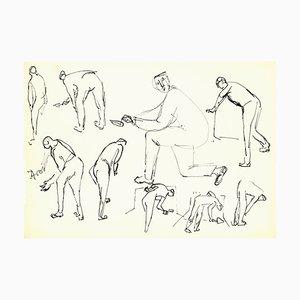 Herta Hausmann, Figures, Labor Study, China Ink, Mid-20th Century