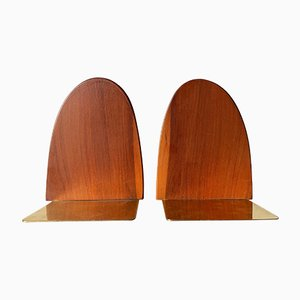 Pearwood Brass Bookends, 1960s, Set of 2