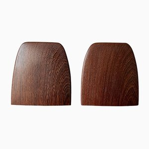 Wenge African Rosewood Brass Bookends, 1960s, Set of 2