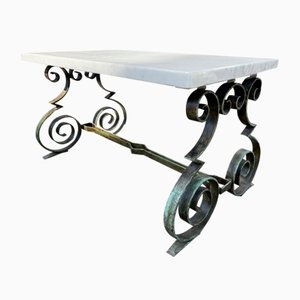 French Mid-Century Hollywood Regency Marble Wrought Iron Table