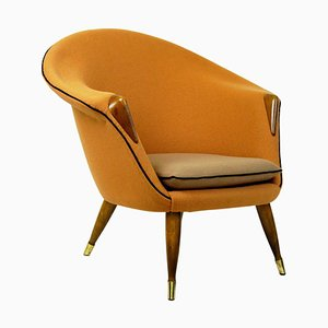 Skandinavischer Sessel aus Ulmenholz mit Kvadrat Stoff in Orange