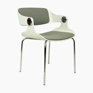 White Space Age Plywood and Grey Fabric Chair by Eugen Schmidt