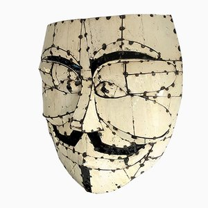 Large Vintage Metal Enamel Wall Art Face Mask