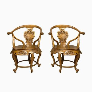 Antique Chinese Exotic Wood Barrel Shaped Armchairs with Floral Decoration, Early 1900s, Set of 2