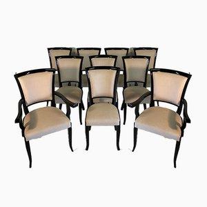 Italian Art Deco Black & Ivory Dining Chairs, 1980s, Set of 10