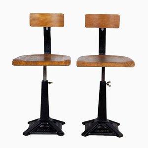 Chaises Pivotantes d'Usine de Singer, 1920s, Set de 2