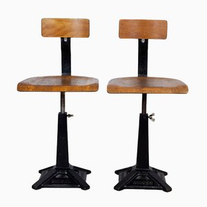 Factory Swivel Chairs from Singer, 1920s, Set of 2