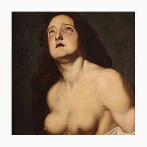 Antique Religious Painting, Saint Agatha, 17th-Century