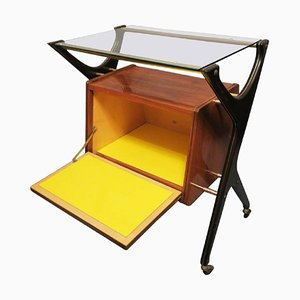 Italian Bar Cart with Canary Yellow Interior and Light, 1950s