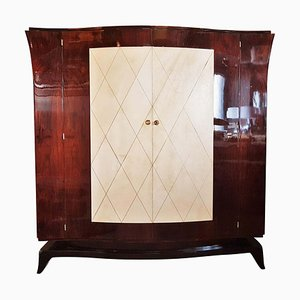 French Art Deco Parchment Wardrobe in the Style of Jean Pascaud, 1930s