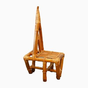 Mid-Century Triangle Bamboo Chair, 1950s