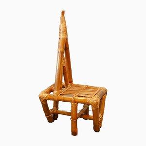 Mid-Century Triangle Stuhl aus Bambus, 1950er