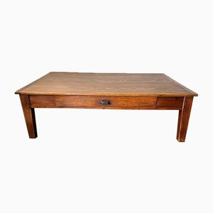 Large Solid Pine Coffee Table with 2 Drawers, 1950s