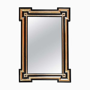 French Napoleon III Black & Gold Wall Mirror, 1860s